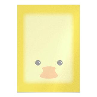 Yellow Duck Cute Animal Face Design Card