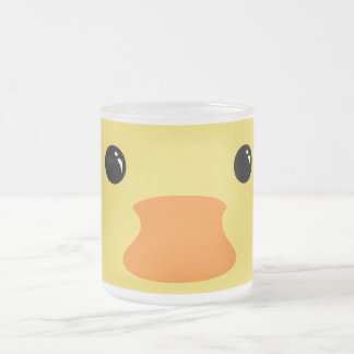 Yellow Duck Cute Animal Face Design Frosted Glass Coffee Mug