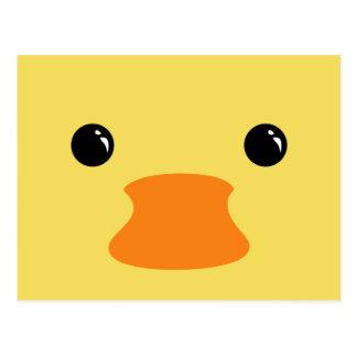 Yellow Duck Cute Animal Face Design Postcard