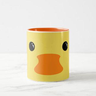 Yellow Duck Cute Animal Face Design Two-Tone Coffee Mug