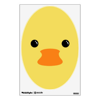 Yellow Duck Cute Animal Face Design Wall Decal