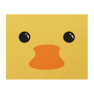 Yellow Duck Cute Animal Face Design Wood Wall Art