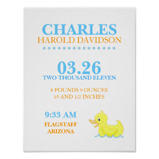 YELLOW DUCK Ducky Birth Announcement Wall Print