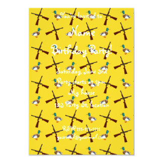Yellow duck hunting pattern 5x7 paper invitation card