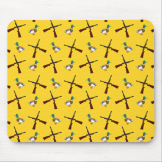 Yellow duck hunting pattern mouse pad