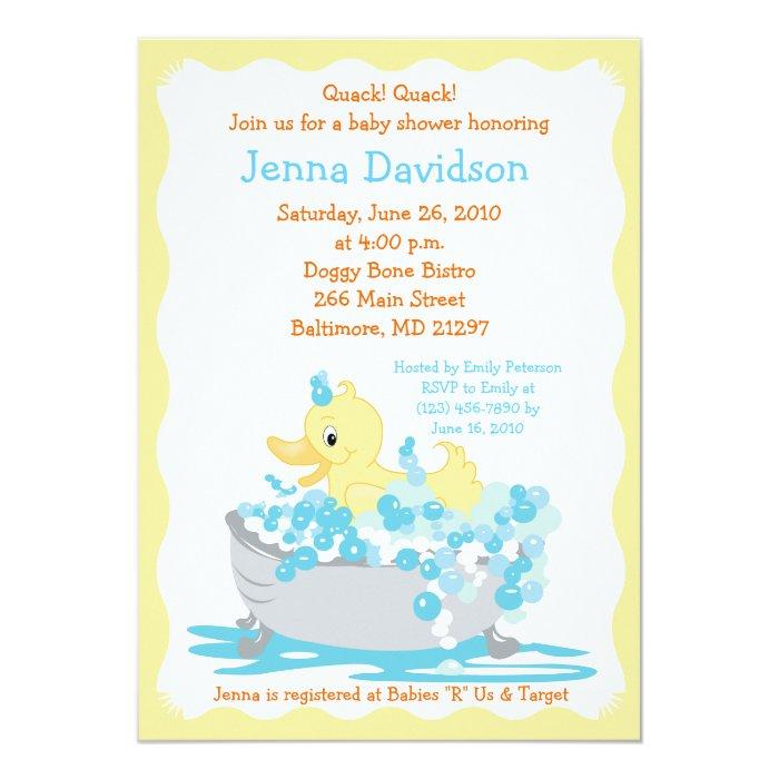 yellow duck in tub baby shower invitation zazzle. Black Bedroom Furniture Sets. Home Design Ideas