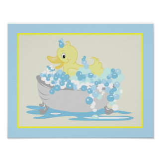 Yellow Duck in Tub Bathroom Art Print