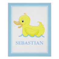Yellow Duck Little Ducky Personalized Art Print