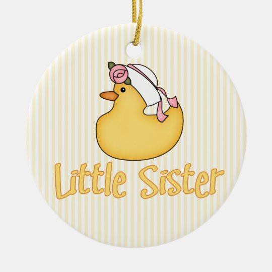 Yellow Duck Little Sister Ceramic Ornament