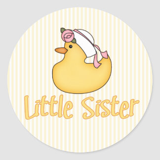 Yellow Duck Little Sister Classic Round Sticker