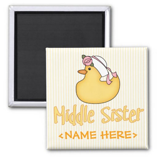 Yellow Duck Middle Sister 2 Inch Square Magnet