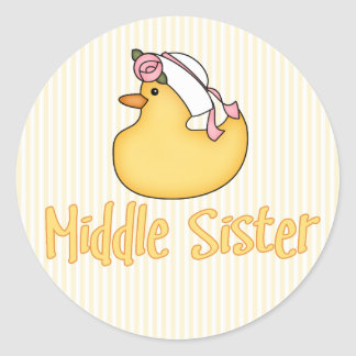 Yellow Duck Middle Sister Classic Round Sticker