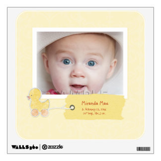 Yellow Duck New Baby Announcement Photo Wall Decal