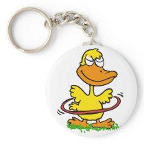 Yellow duck playing with hula hoop keychain