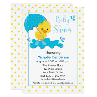 Yellow Duck, Umbrella and Polka Dots Baby Shower Card
