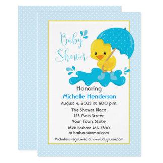 Yellow Duck, Umbrella, Blue Polka Dots Baby Shower Card