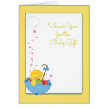 Yellow Duck, Umbrella, Hearts, Baby Gift Thank You Greeting Card