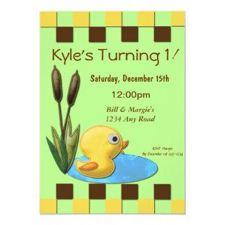 Yellow Duckie 1st Birthday Card