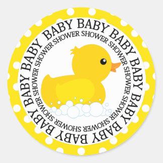 Yellow Duckie Baby Shower Classic Round Sticker