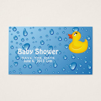 Yellow Duckie Baby Shower Save the Date Business Card