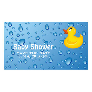 Yellow Duckie Baby Shower Save the Date Double-Sided Standard Business Cards (Pack Of 100)