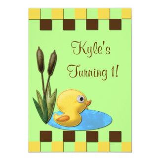Yellow Duckie, Pond & Cattails 1st Birthday 5x7 Paper Invitation Card