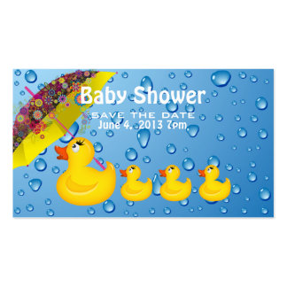 Yellow Duckie Save the Date Baby Shower Double-Sided Standard Business Cards (Pack Of 100)