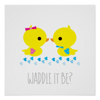 Yellow Duckies - Gender Reveal - Waddle It Be Poster