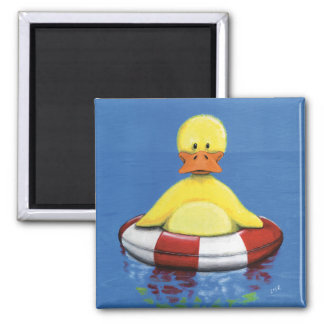 Yellow Duckling in an inflatable Ring Duck Magnet