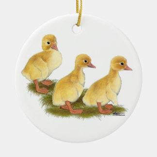 Yellow Ducklings Ceramic Ornament