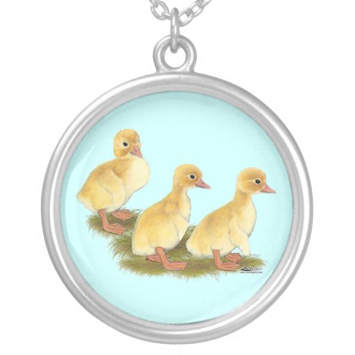 Yellow Ducklings Round Pendant Necklace