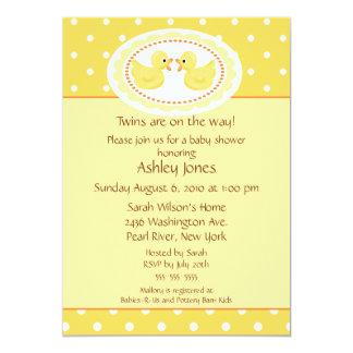 Yellow Ducks Twins Baby Shower 5x7 Paper Invitation Card