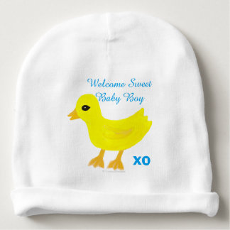 Yellow Ducky Baby Boy Hospital Name Hat
