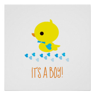 Yellow Ducky - Baby Shower - It's a Boy! Poster