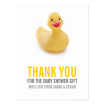 Yellow Ducky Baby Shower Thank You Postcard