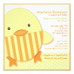 "Yellow Ducky Neutral Baby Shower Invitation 5.25"" Square Invitation Card"