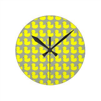 Yellow Ducky Round Clock