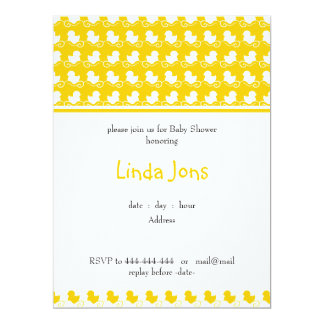 yellow ducky row baby shower invitation