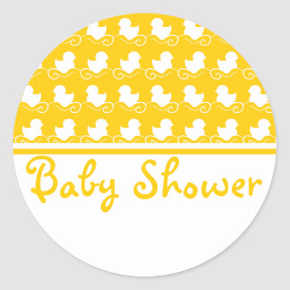 yellow ducky row baby shower seal sticker