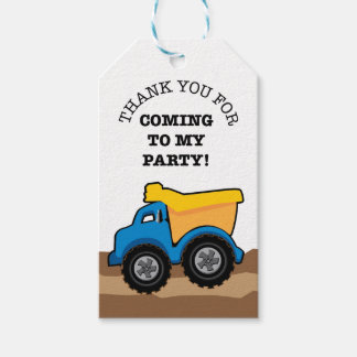 Yellow Dump Truck Birthday Party Tags