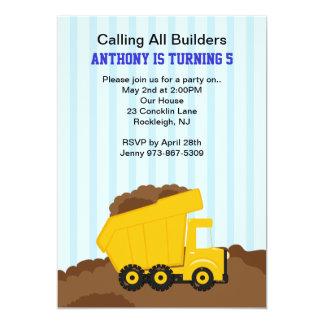 Yellow Dump Truck Boys Birthday Invitation