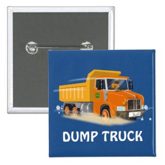 Yellow Dump Truck Cartoon for Kids Button