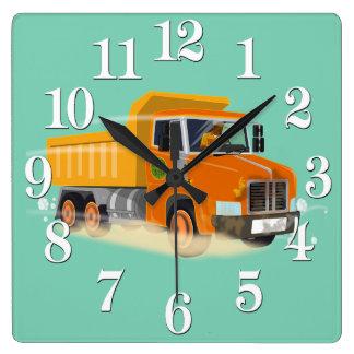 Yellow Dump Truck Cartoon for Kids Square Wallclocks