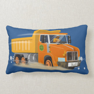 Yellow Dump Truck Cartoon for Kids Lumbar Pillow