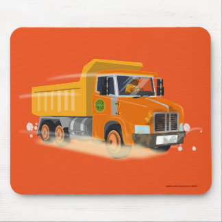 Yellow Dump Truck Cartoon for Kids Mouse Pad