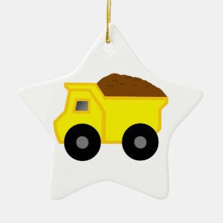 Yellow Dump Truck Ceramic Ornament