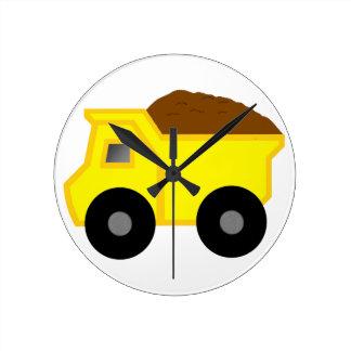 Yellow Dump Truck Round Wallclocks