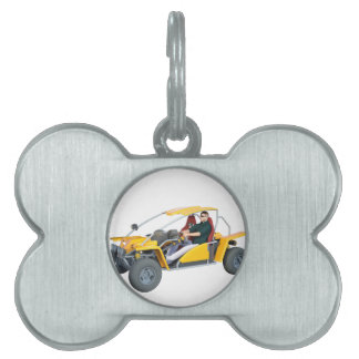 Yellow Dune Buggy Pet ID Tag