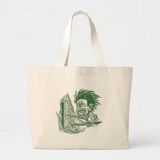Yellow Dwarf Kicks Open Door in Tree Trunk Large Tote Bag