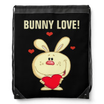 Yellow Easter Bunny Holding Red Heart Drawstring Backpack